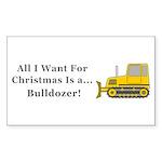 Christmas Bulldozer Sticker (Rectangle 50 pk)