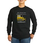 Christmas Bulldozer Long Sleeve Dark T-Shirt