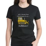 Christmas Bulldozer Women's Dark T-Shirt