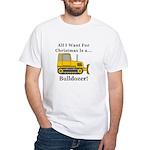 Christmas Bulldozer White T-Shirt