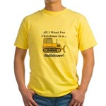 Christmas Bulldozer Yellow T-Shirt