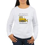 Christmas Bulldozer Women's Long Sleeve T-Shirt