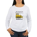 Christmas Bulldozer Women's Long Sleeve T-Shirt