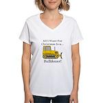 Christmas Bulldozer Women's V-Neck T-Shirt