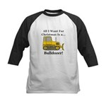 Christmas Bulldozer Kids Baseball Jersey