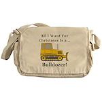 Christmas Bulldozer Messenger Bag