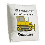 Christmas Bulldozer Burlap Throw Pillow