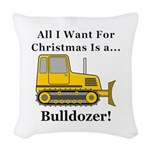 Christmas Bulldozer Woven Throw Pillow