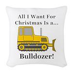 Christmas Bulldozer Woven Throw Pillow