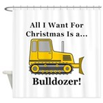 Christmas Bulldozer Shower Curtain