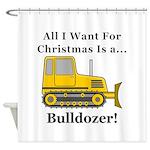 Christmas Bulldozer Shower Curtain