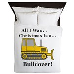 Christmas Bulldozer Queen Duvet
