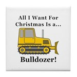 Christmas Bulldozer Tile Coaster