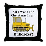 Christmas Bulldozer Throw Pillow