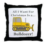 Christmas Bulldozer Throw Pillow
