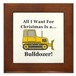 Christmas Bulldozer Framed Tile