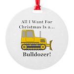 Christmas Bulldozer Round Ornament