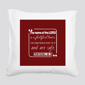 Proverbs 18:10 Daily Bible Ve Square Canvas Pillow