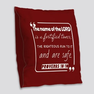 Proverbs 18:10 Daily Bible Ver Burlap Throw Pillow