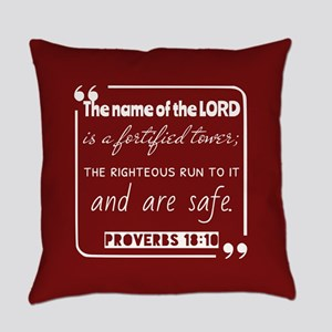 Proverbs 18:10 Daily Bible Verse Everyday Pillow