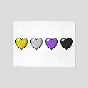 Non-Binary Pixel Hearts 5'x7'Area Rug