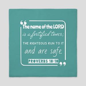 Proverbs 18:10 Christ Notes Queen Duvet