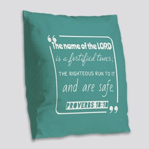 Proverbs 18:10 Christ Notes Burlap Throw Pillow