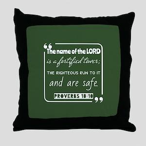 Proverbs 18:10 Encouraging Bible Vers Throw Pillow