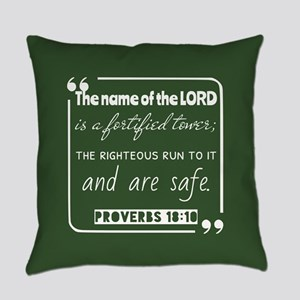 Proverbs 18:10 Encouraging Bible V Everyday Pillow