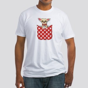 Red Pocket Chihuahua Fitted T-Shirt