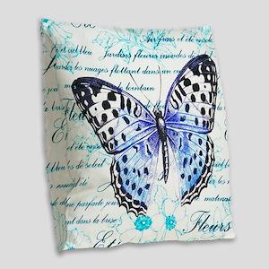 Blue Butterfly Burlap Throw Pillow