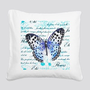 Blue Butterfly Square Canvas Pillow