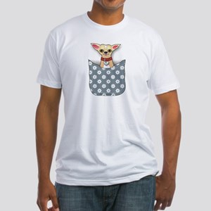 Blue Pocket Chihuahua Fitted T-Shirt