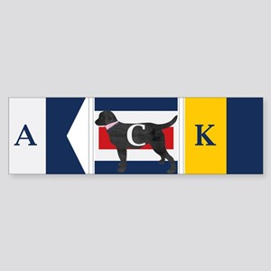 Preppy Lab Dog ACK Signal Flag Bumper Sticker