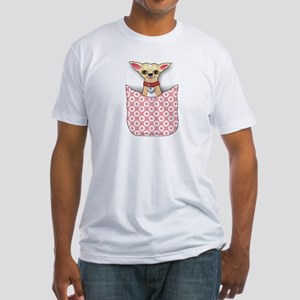 Pink Pocket Chihuahua Fitted T-Shirt