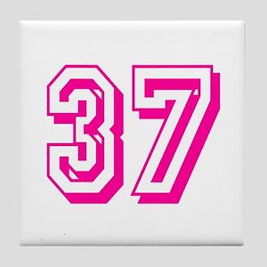 37 Pink Birthday Tile Coaster