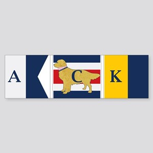 Preppy Dog Golden ACK Signal Flag Sticker (Bumper)