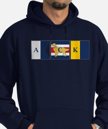 Preppy Dog Golden ACK Signal Flag Hoodie (dark)