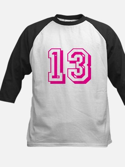 13 Pink Birthday Kids Baseball Jersey