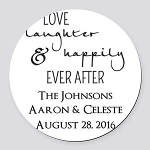 Love Laughter and Happily Ever After Round Car Mag