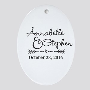 Couples Names Wedding Personalized Oval Ornament