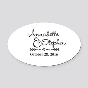 Couples Names Wedding Personalized Oval Car Magnet