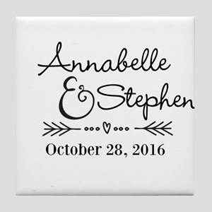 Couples Names Wedding Personalized Tile Coaster