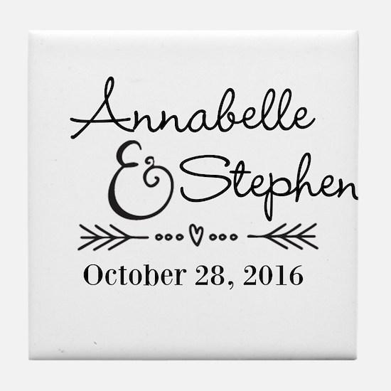 Couples Names Wedding Personalized Tile Coaster