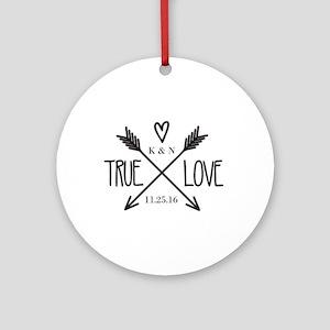 Personalized True Love Arrows Round Ornament