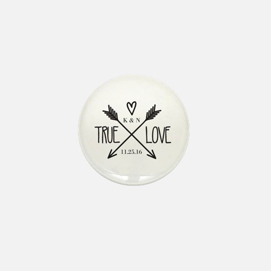Personalized True Love Arrows Mini Button