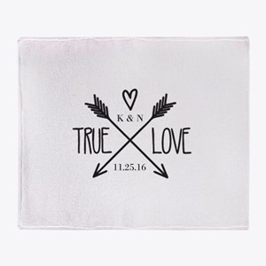 Personalized True Love Arrows Throw Blanket