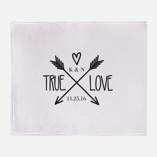 Personalized True Love Arrows Throw Blanket