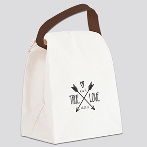 Personalized True Love Arrows Canvas Lunch Bag