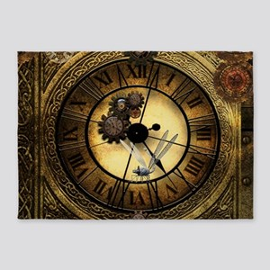 Wonderful steampunk desisgn, clocks and gears 5'x7